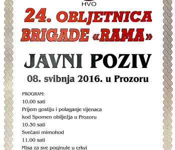"NAJAVA: Proslava 24. obljetnice brigade ""Rama"""