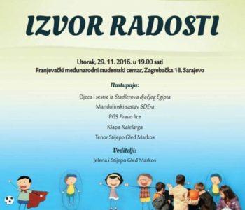 NAJAVA: Humanitarni koncert i izložba za djecu Stadlerova dječjeg Egipta u Sarajevu
