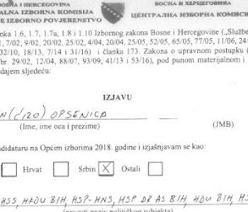 """Kao Hrvat zanoćio, kao Srbin se potpisao: SIP """"Opsenica se izjasnio Srbinom"""""""
