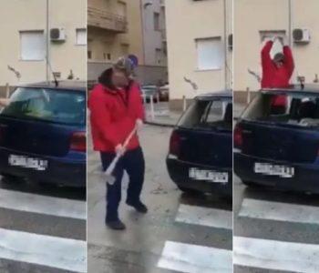 Ovakvo nešto do sada niste vidjeli: Splićanin macolom razbija automobil parkiran na zebri! Priča je dobila neočekivani obrat kada se doznalo tko koristi automobil