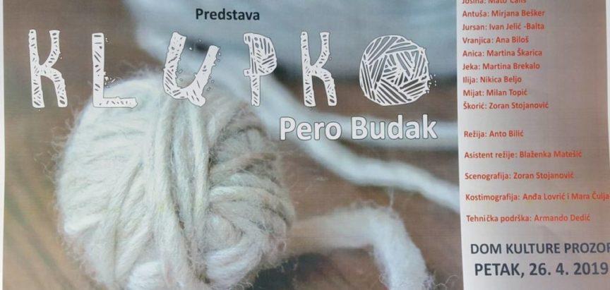 """Kazališna predstava  domaćih glumaca """"Klupko"""" ponovno u Prozoru"""