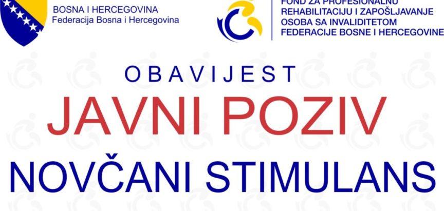 Javni poziv za novčani poticaj za zapošljavanje  osoba s infaliditetom