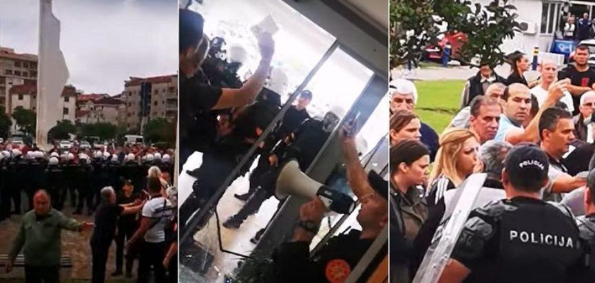 """Kaos u Budvi, grad pod opsadom policije: Građani prosvjeduju zbog nasilnih uhićenja, lete i petarde, uzvikuju """"Ustaše!, Ustaše!"""""""