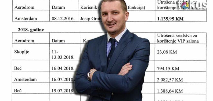 Ministar pravde BiH Josip Grubeša na VIP salone na aerodromima potrošio više od 5.424 KM!