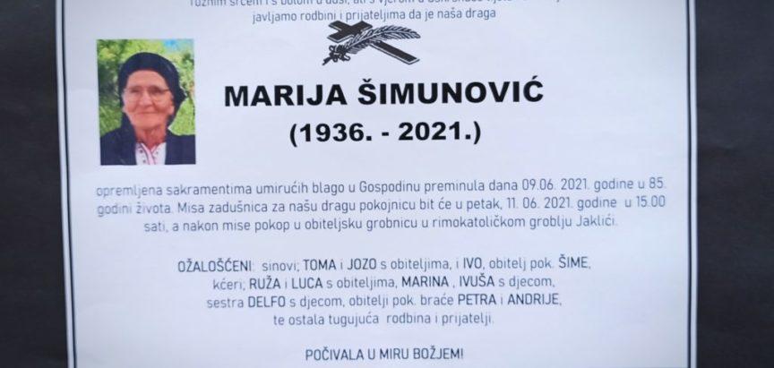 Marija Šimunović (1936.-2021.)