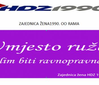 OO Zajednice žena HDZ-a 1990 Prozor- Rama uputio čestitku u povodu Dana žena