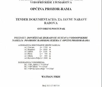 Objavljen natječaj za dovršetak izgradnje sustava vodoopskrbe naselja po obodu Ramskog jezera